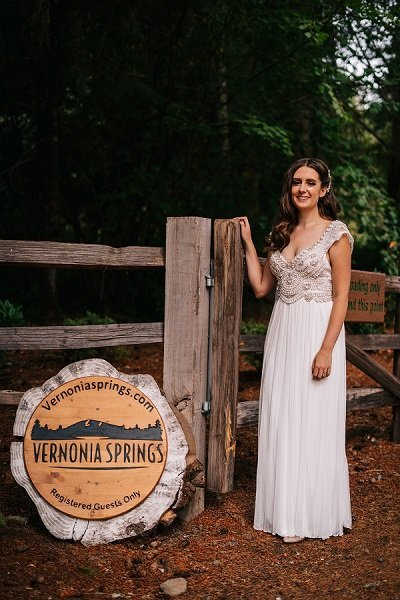 Bride at Sign